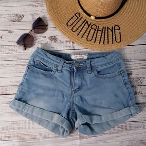 Denim Cuffed Short Shorts Hot Kiss Size 3